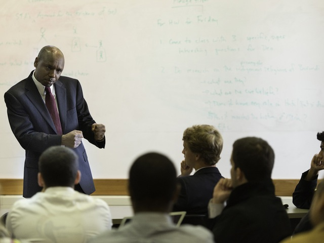 Deo Niyizonkiza addresses Berkshire students during his visit to the school on Sept. 20.